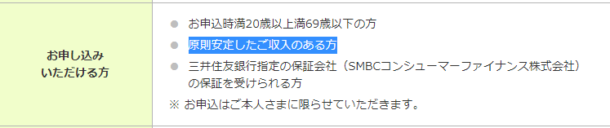 三井住友銀行カードローン申込条件